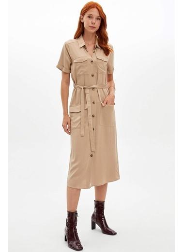 DeFacto Beli Kuşaklı Gömlek Elbise Bej